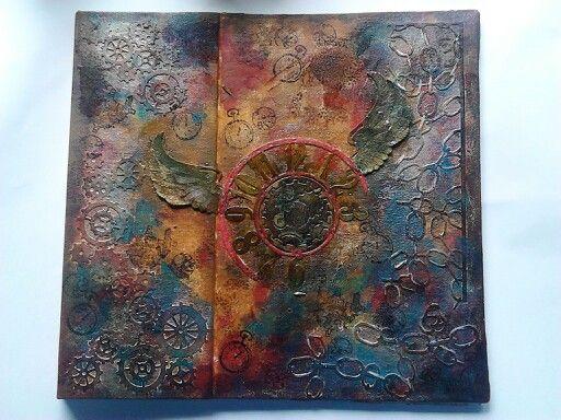 Steampunk 8 x 8 Album/Journal cover using Cheery Lyn dies created by Anna Wilson
