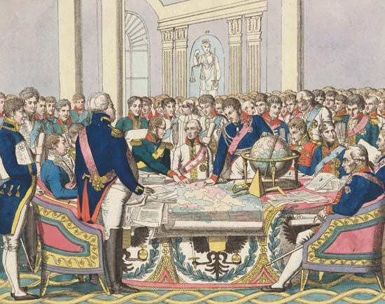 The Congress of Vienna, watercolour etching by August Friedrich Andreas Campe, in the collection of the State Borodino War and History Museum, Moscow.