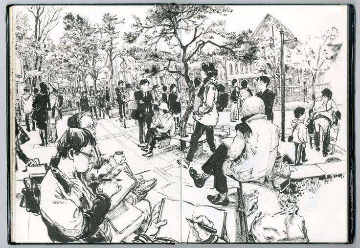 Ver dibujar/bocetear a Kim Jung Gi es de las cosas más espectaculares que he puesto (y llegaré a poner) en el blog. Asusta de lo bueno que es.                Kim Jung Gi