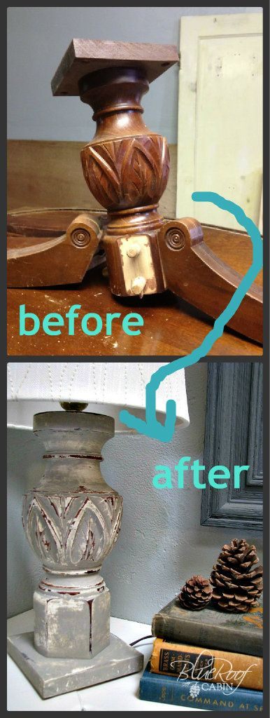 DIY: How to Make a Lamp From a Broken Table - this is a great DIY!  A table pedestal was drilled through the center (so the lamp wire could run through), painted & distressed & had a light kit attached.  Tutorial.