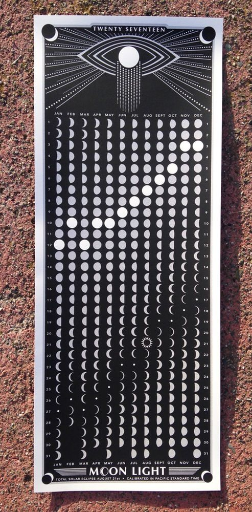 Image of 2017 Moon Calendar - BLACK Moon phases