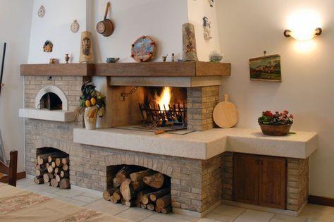 Caminetto rustico per taverna con forno pane e pizza camini nel