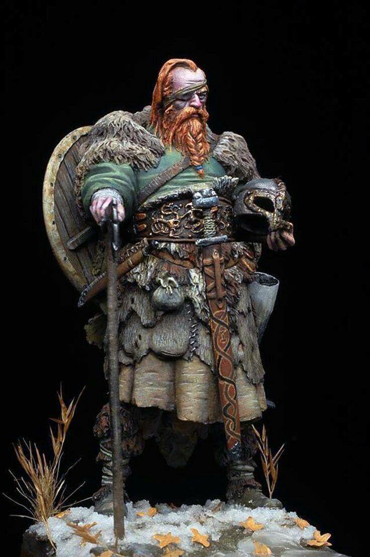 Hand painted viking warrior figurine.
