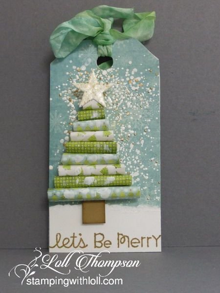 Mixed Media Christmas Tag#5 by Loll Thompson - Cards and Paper Crafts at Splitcoaststampers