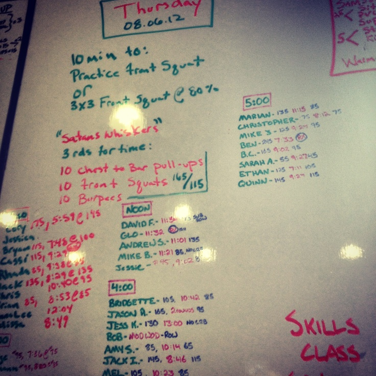 """WOD """"Satans Whiskers"""" 07.05.12    10 minute:    3x3 Front Squat @ 80%    My weight: #135      THEN      Satans Whiskers     3 Rounds for Time:     10  C2B Pull-Ups   10  Front Squats (165/115)   10  Burpees    My time: 11:15 @ #85"""