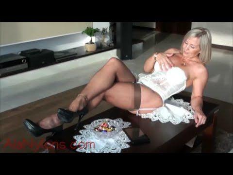 Ala Nylons White Corset And Heels Stockings Suspenders