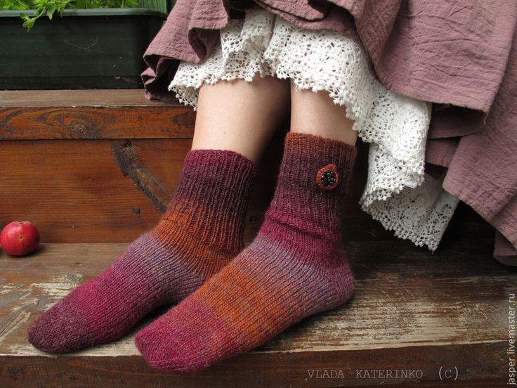 """Купить Носочки """"Гранатовый сок"""" - носочки, вязанные носки, носки спицами…"""