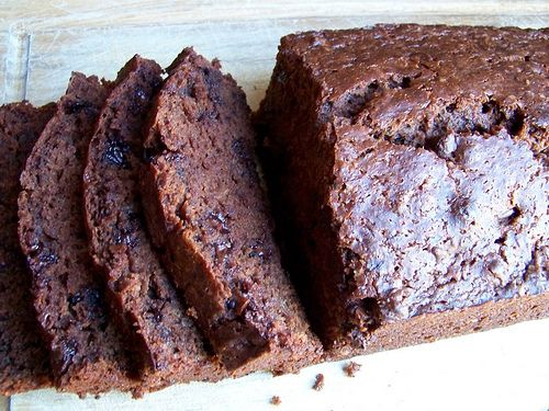 Chocolate Banana Bread  1 3/4 cups flour  1/4 cup unsweetened cocoa powder  1 cup sugar  1 teaspoons baking powder  1/4 teaspoon baking soda  1/4 teaspoon salt  2 large eggs, lightly beaten  1 stick butter, melted and cooled  3 ripe bananas, mashed well  1 teaspoon vanilla extract  1/2 cup semi-sweet chocolate chips  Pour into a greased loaf pan. Bake at 350 degrees for 55 to 65 minutes