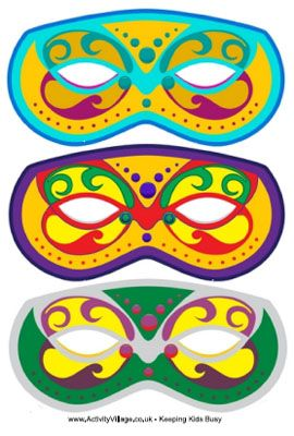 Print Your Own Ready-to-Use (And Free) Mardi Gras Masks: Set of 3 Printable Mardi Gras Masks by Activity Village