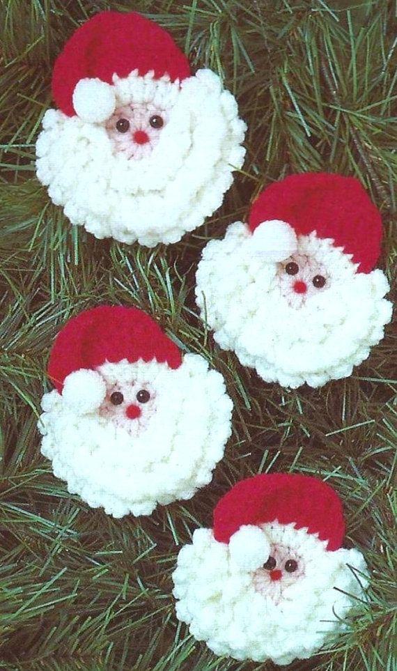 Vintage crochet pattern santa faces father christmas face christmas tree trim holiday - Decoration au crochet ...