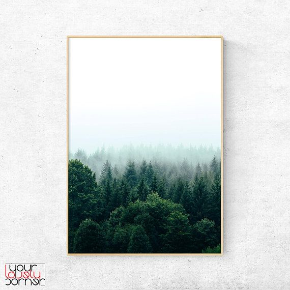 Forest Print, Pine Tree Forest Wall Art, Misty Forest Poster, Nature Photography, Foggy Forest Digital Download, Green Forest Home Art Decor