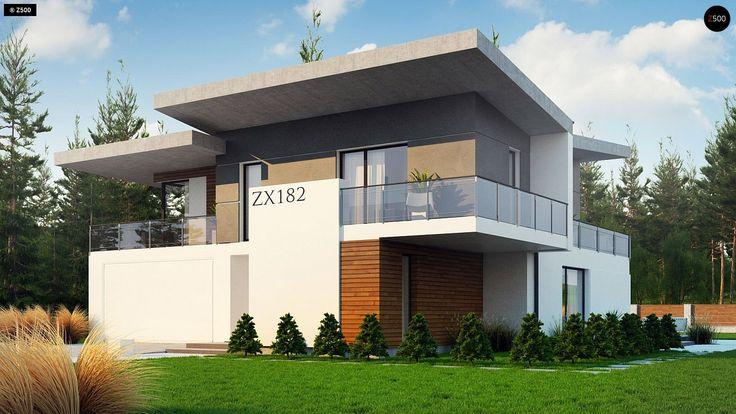 Общая площадь 241.5 м² Проект дома Zx182 — стильный проект двухэтажного дома с 4 спальнями и гаражом на две машины с плоской крышей.