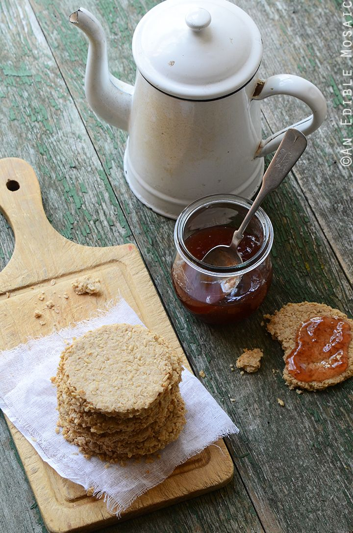 Scottish Oatcakes Recipe - crisp and nutty, these can go either sweet or savory depending on what you top them with. Cheese and/or jam are fabulous!