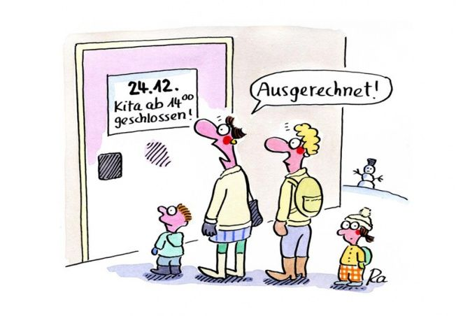 Kindergarten_KiGaPortal_Cartoon_Renate Alf_Heiligabend