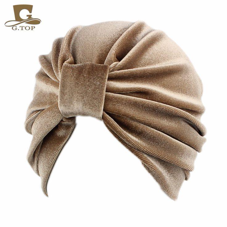New Fashion women turban indian caps Celeb Style Neon Headband Vintage Double Stretch Velvet gurban Head wrap