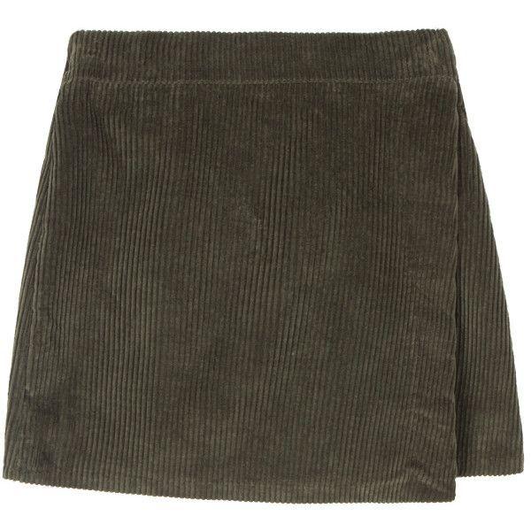 Corduroy Wrap Mini Skirt ($24) ❤ liked on Polyvore featuring skirts, mini skirts, bottoms, mid thigh skirt, short a line skirt, elastic waist mini skirt, short skirts and a-line skirt