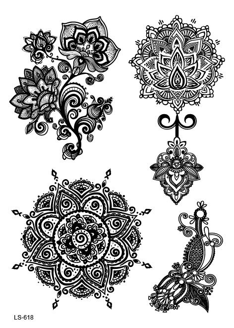 LS618 21*15cm Big Tattoo Sticker Sexy Hanna Female Black Lace Bride Temporary Flash Tattoo Stickers Body Art Flowers Tatoo