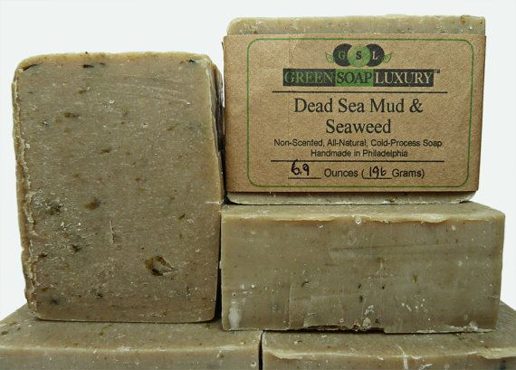 Dead Sea Mud and Seaweed Soap (6.5 to 6.7 oz) - UNSCENTED, All Natural, VEGAN, Cold Process SOAP