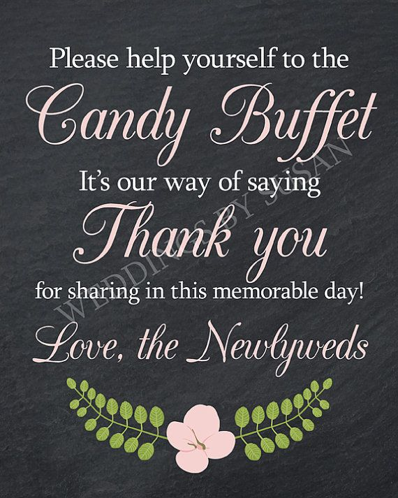 8x10 Black and White Chalkboard Wedding Candy Buffet digital sign with pink flower by WeddingsBySusan
