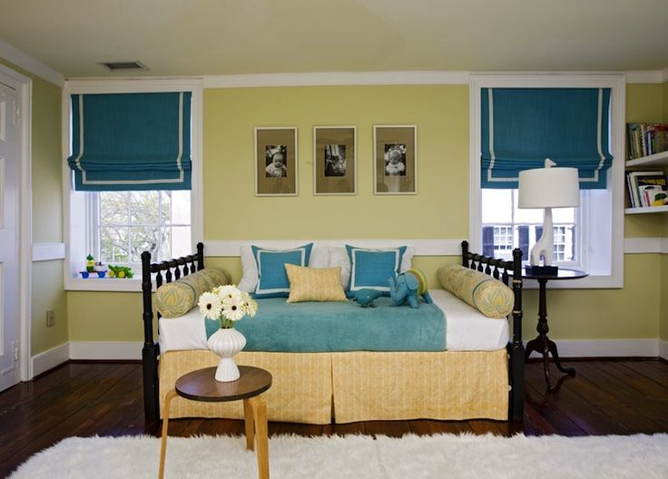 teal blue roman shades with white border windows pinterest black beds yellow bed and blue. Black Bedroom Furniture Sets. Home Design Ideas