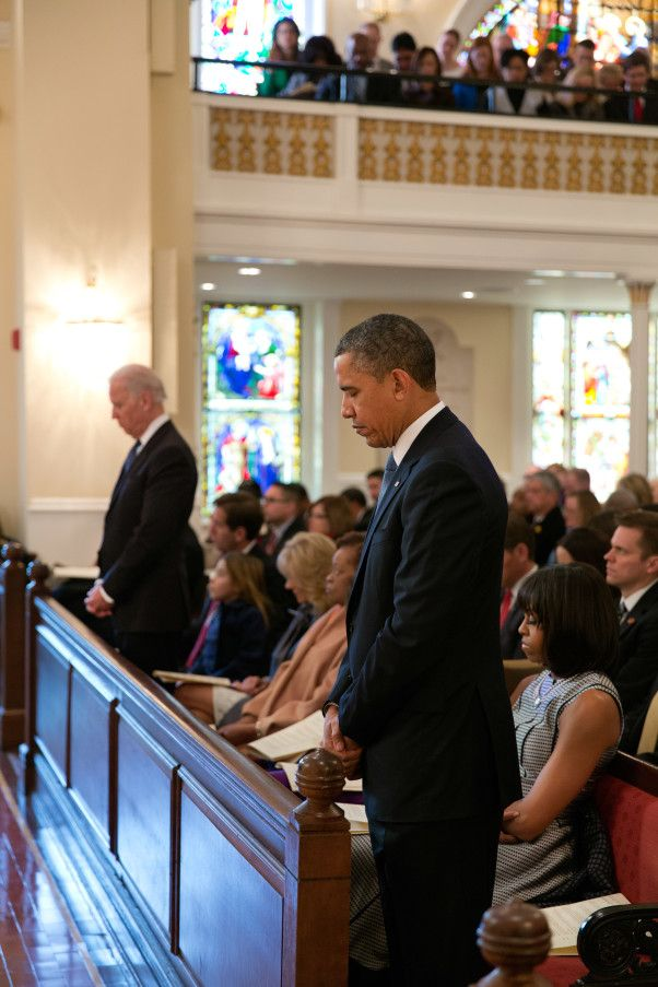 President Barack Obama, First Lady Michelle Obama, Vice President Joe Biden, Dr. Jill Biden, and their families attend an inaugural prayer service at St. John's Church in Washington, D.C., Jan. 21, 2013.
