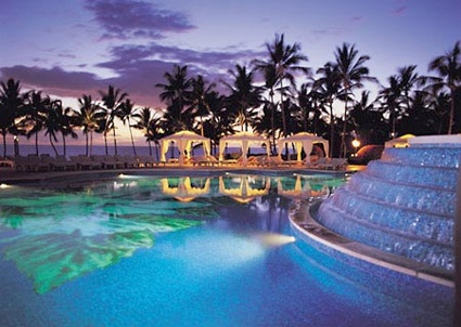 Hibiscus pool in Grand Waila Resort in Maui, Hawaii decorated with 2 millions Mexico marble briquettes
