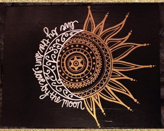 11x14 CUSTOM Painted Canvas -- Live By The Sun, Love By The Moon: