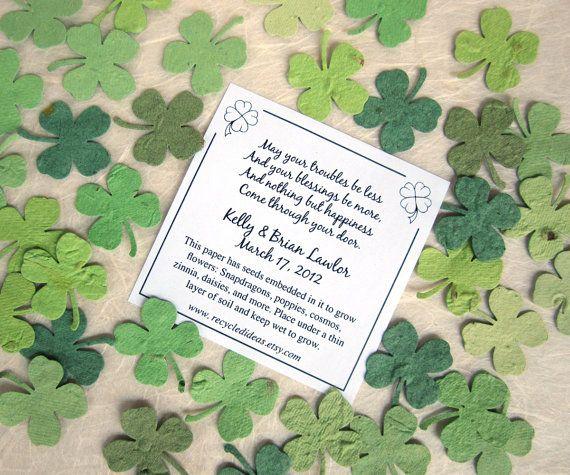 200 Plantable Four Leaf Clover Confetti Wedding door recycledideas