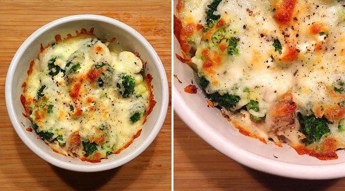 Low Carb Rezept für ein leckeres Low-Carb Brokkoli-Pilz-Feta-Gratin. Wenig Kohlenhydrate und einfachzumNachkochen.Super für Diät/zum Abnehmen.