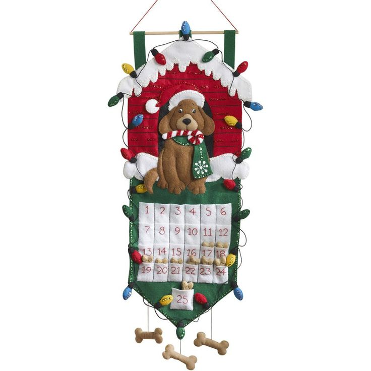 "Dog Advent Calendar Felt Applique Kit-13""X27"""