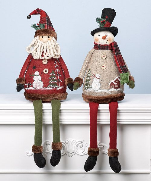 Complete the seasonal décor with the help of this sweet Santa and snowman figurine set. Their carefully crafted design makes them perfect candidates for any bookshelf or mantelpiece in need of a little holiday cheer.Includes two figurines7.5'' W x 25'' H x 4.5'' DPolyester / firImported
