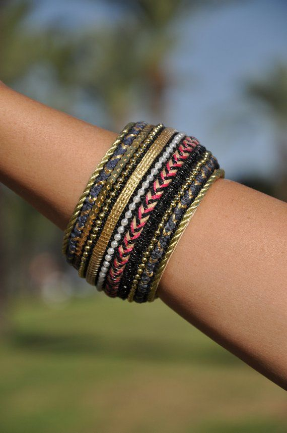 ea42ce1e19f Boho hoop bracelet, Boho bangle bracelet Bohemian armlet Wide braclet 5cm  Embroidered bracelet Gypsy Gold