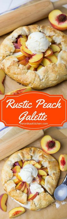Rustic Peach GaletteWarm Rustic Peach Galette with a scoop of vanilla ice cream on top is a very simple but mouthwatering summer treat. This easy dessert recipe is perfect for any celebration.