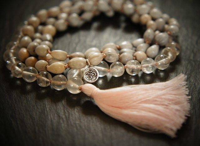 108 Heart Chakra Mala, Rose Quartz, Silver, Vaijayanti Seed Yoga Necklace £49.00