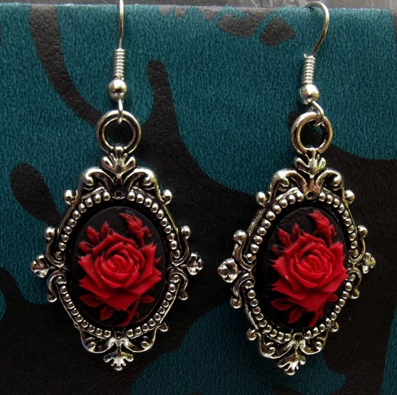 Gothic Steampunk Victorian Style Red Rose Cameo Silver Metal Earrings.