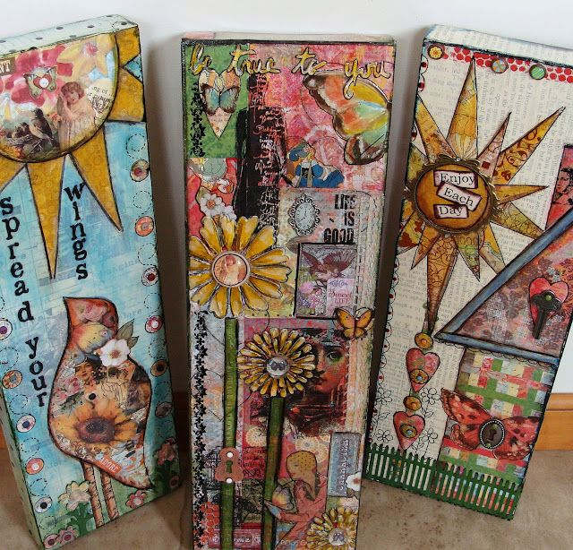 love these, especially how she drew letters on patterned paper, cut them out, and adhered them. lovely! ::Diane Salter - Art Journal Blog, great mixed media blog including tutorials!