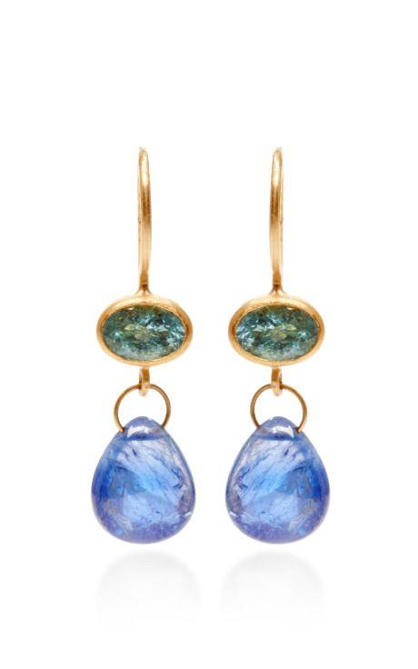 One of a Kind Oval Paraiba and Blue Cabochon Sapphire Apple and Eve Earrings by Mallary Marks - Moda Operandi