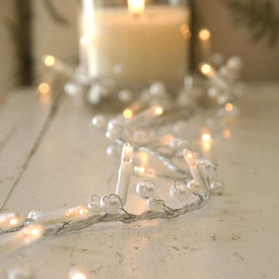 String Lights For Mantelpiece : Perfect mantel piece #fairylights for #Christmas! 30 Bulb Indoor Fairy Light Garland With Pearl ...