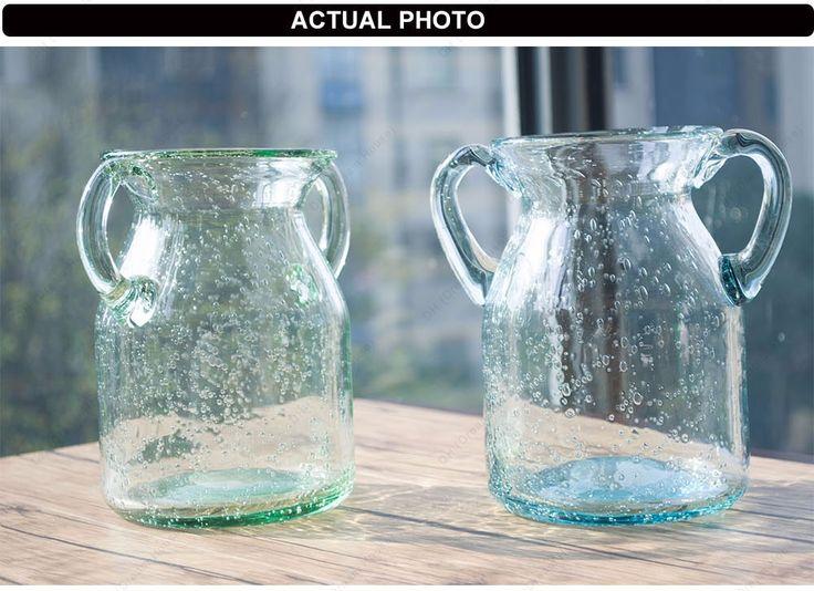 DH амфоры небесно голубой стеклянной вазе украшения дома аксессуары большие напольные вазы украшение дома цветочные ясно стеклянная бутылка купить на AliExpress
