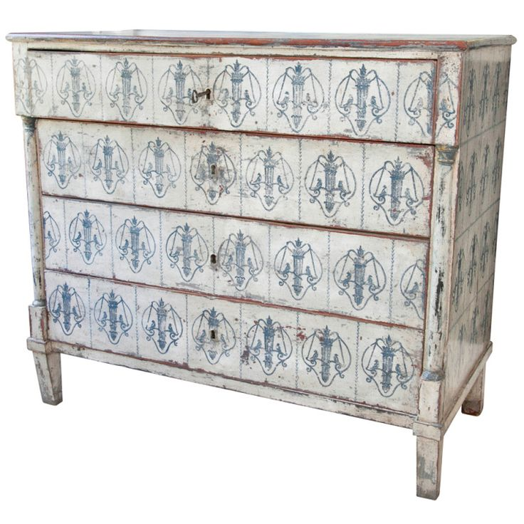 1stdibs.com | Decorative Swedish Commode with delicate perched birds motif, 19th C