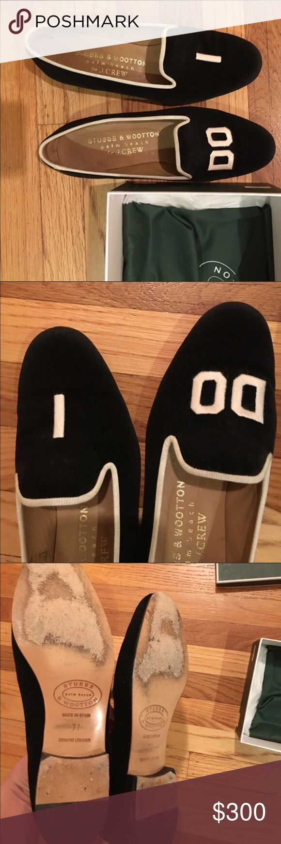 Stubbs and Wootton J Crew I DO slipper Beautiful slippers. Velvet. Black and white. Only worn once on my honeymoon in Europe. So comfortable and in great condition! Comes with dustbag. Perfect for a newlywed J. Crew Shoes Slippers