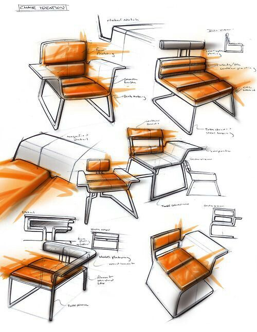 #industrial #design #sketches #chair