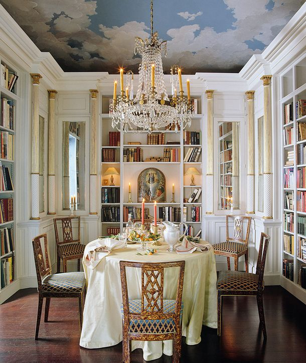 Library and Dining ~ Food and books, AH. Love to have clouds on my ceiling...