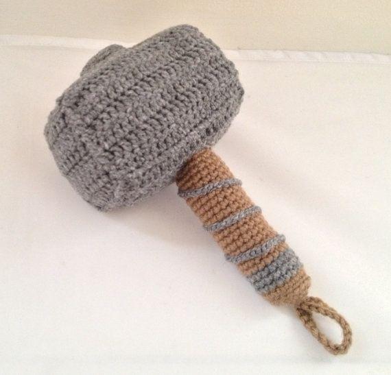 Thor Baby Rattle Hammer Mjolnir Plush Crochet by JAMigurumi