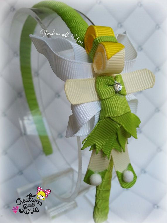 Tinkerbell Inspired Ribbon Sculpture Headband. by creationslove
