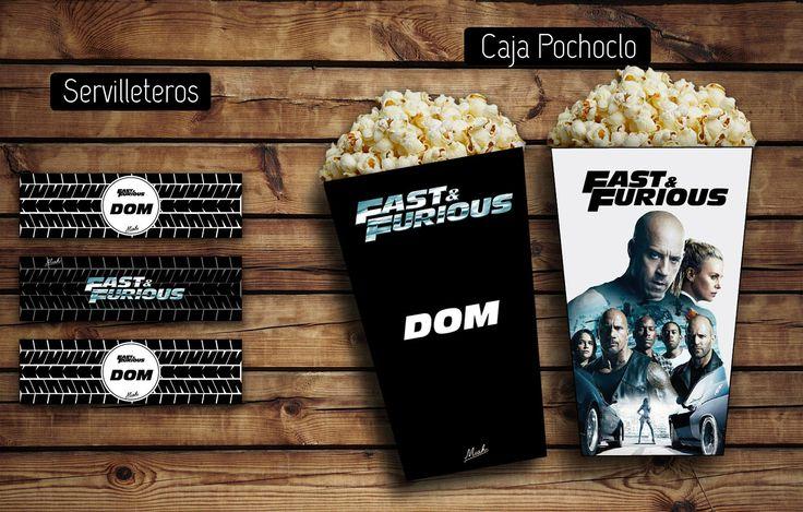 #Servilleteros - Cajita #pochoclo Rápido y furioso! #cumple #box #cajitas #popcorn #F8