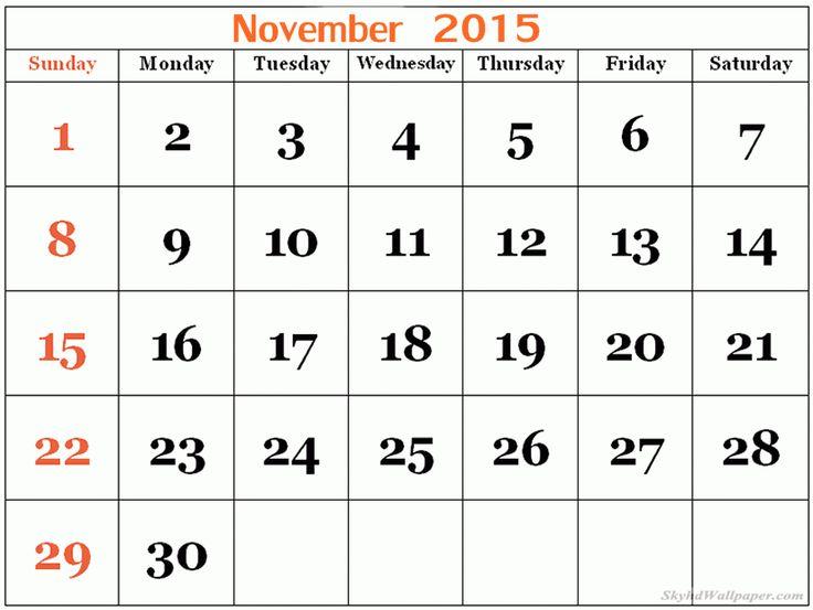 November 2015 Calendar Hindu