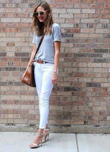 グレーのTシャツと合わせて軽やかな着こなし!白パンツのレディースコーデ 着まわし
