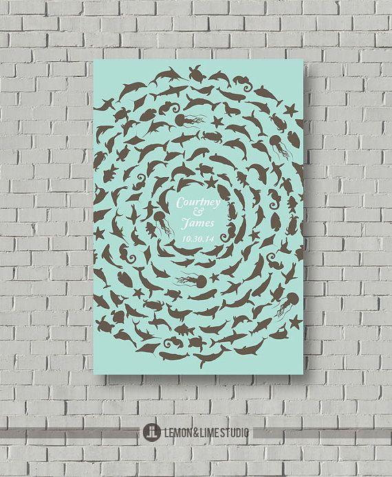 Custom Guest Book Alternative   Ocean by lemonANDlimeStudio, $55.00