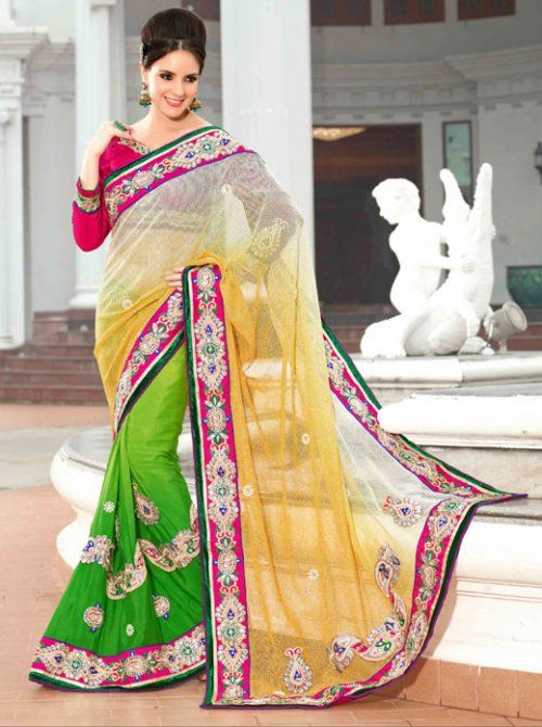 Green And Off White Color Net And Viscose Designer Saree. Sale: $154.85